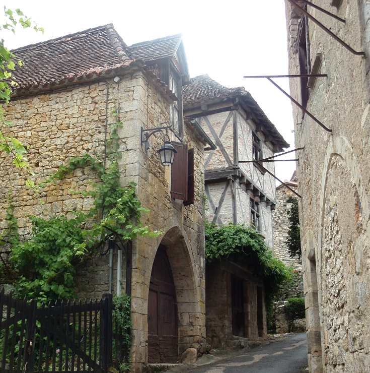 Stone and timbered houses in Saint-Cirq-Lapopie, GR36, France