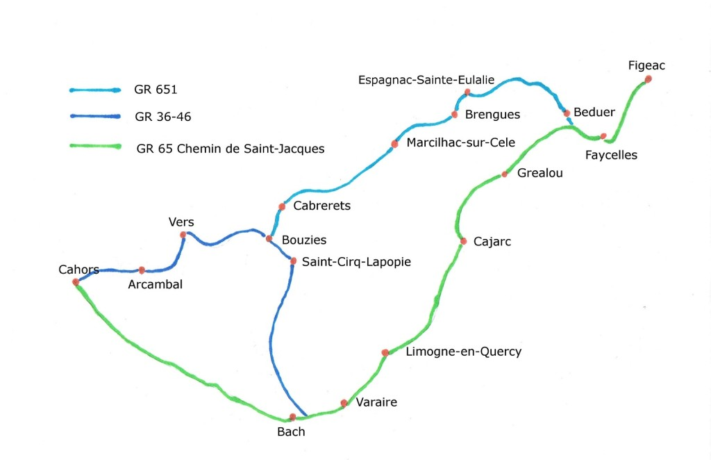 Map of the path from Figeac to Cahors
