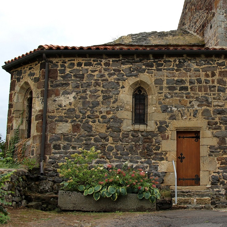 Back door of the church, Saint-Privat-d'Allier, GR 65, France