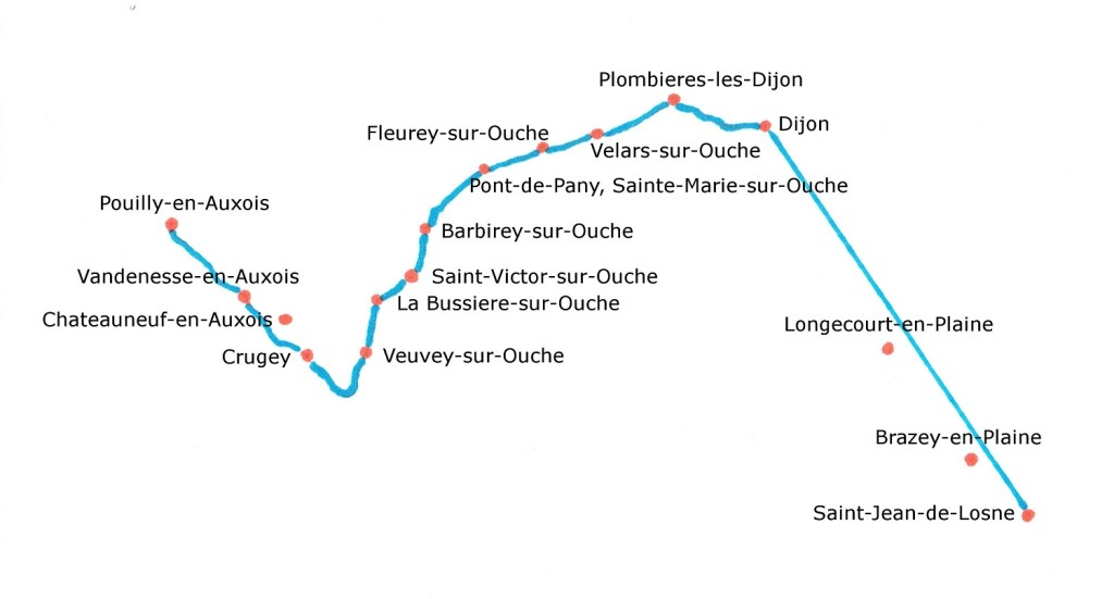 Map of the Burgundy Canal from Pouilly-en-Auxois to Saint-Jean-de-Losne