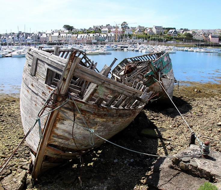 Abandoned boats, Camaret-sur-Mer, GR34, Coast of Brittany, France