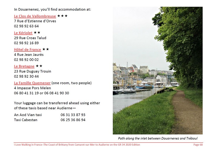 Screen shot of the accommodation listing for Douarnenez extracted from the Coast of Brittany guidebook