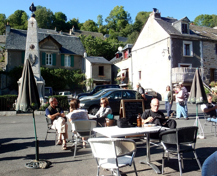 Walkers and locals gather for a drink at Café de la Mairie