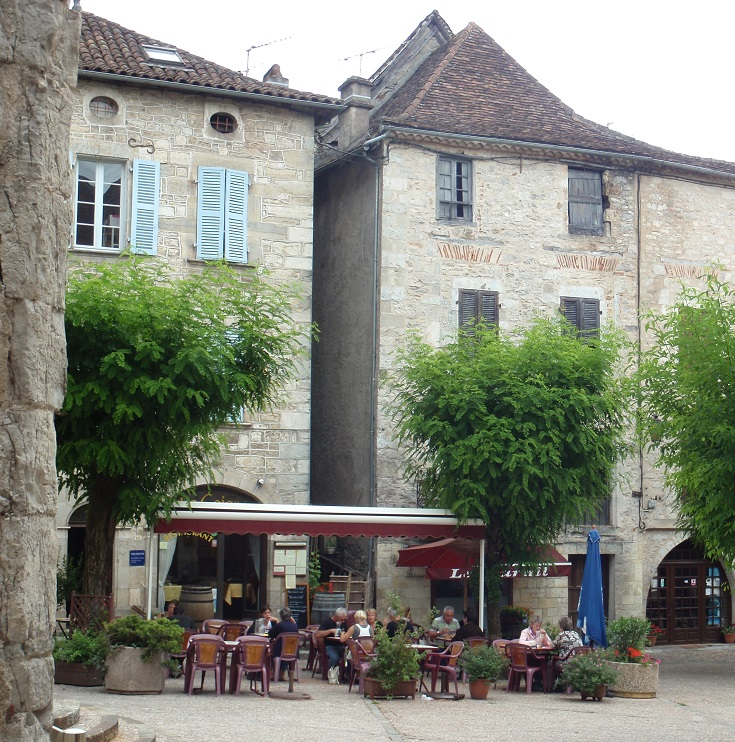 Café in Place de l'Église, Cajarc, GR 65, France