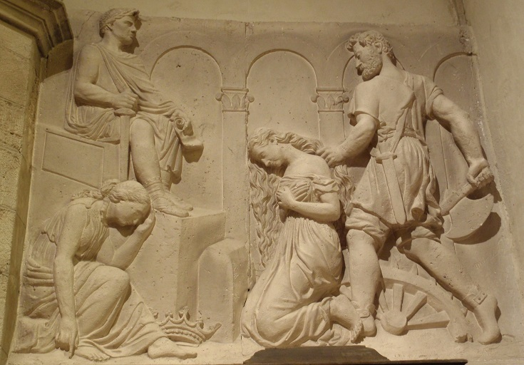 Carving inside Eglise Saint-Fleuret, Estaing, GR 65, Chemin de Saint-Jacques, France