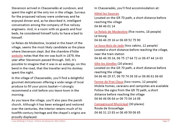 Extract from the Chemin de Stevenson guidebook showing accommodation listings in Chasseradès