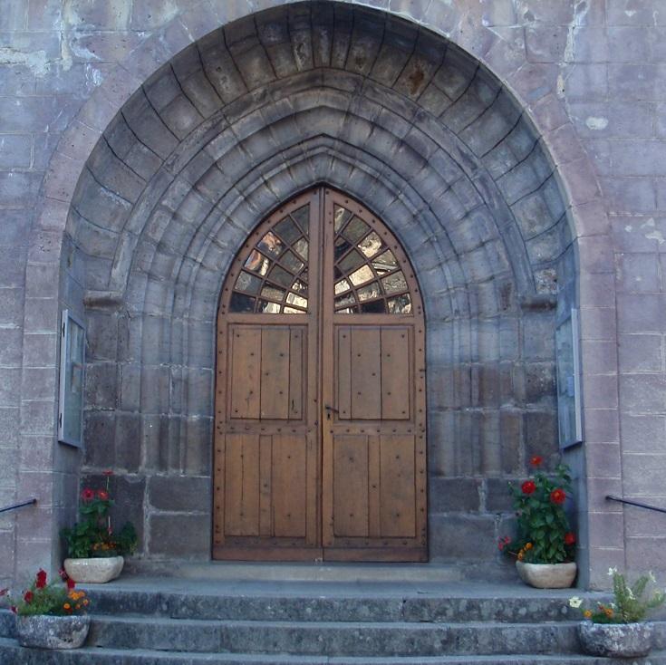 Church door, Saint-Chély-d'Aubrac, GR65, France