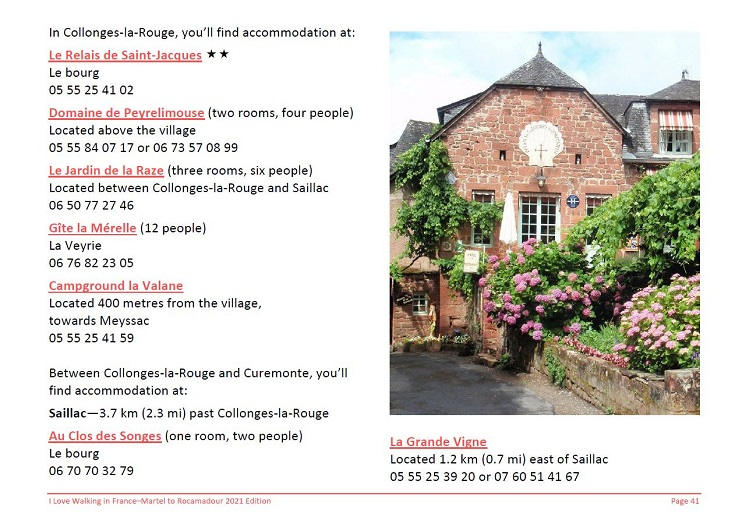 Extract from Martel to Rocmadour guidebook showing detail of the section on Collonges-la-Rouge