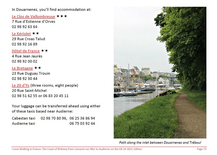 Extract from the Coast of Brittany guidebook showing accommodation details in Douarnenez