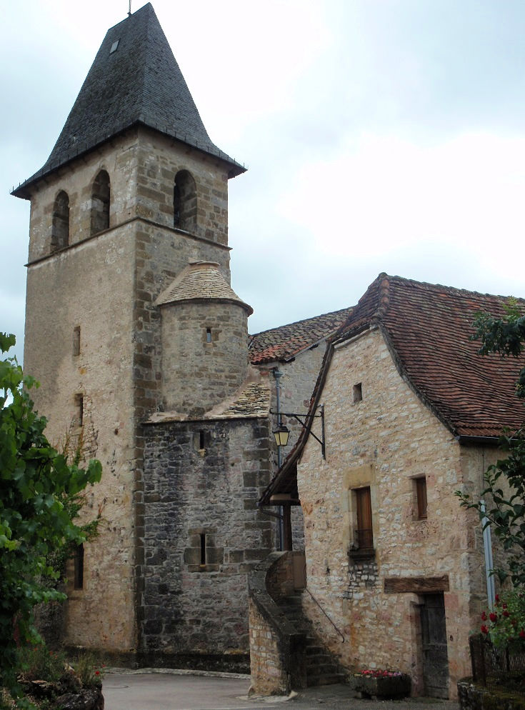 Stone turret and bell tower of the fifteenth century church