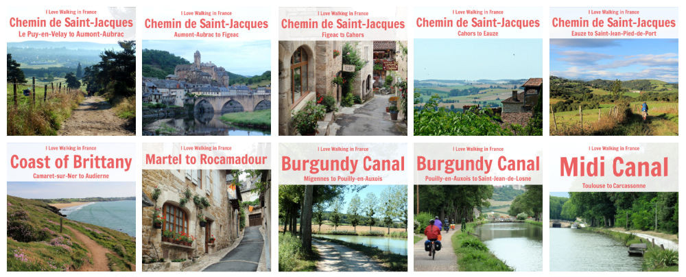 Collage of I Love Walking in France guidebook covers