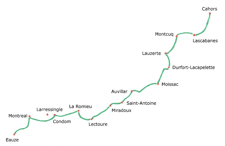 Map of Cahors to Eauze path