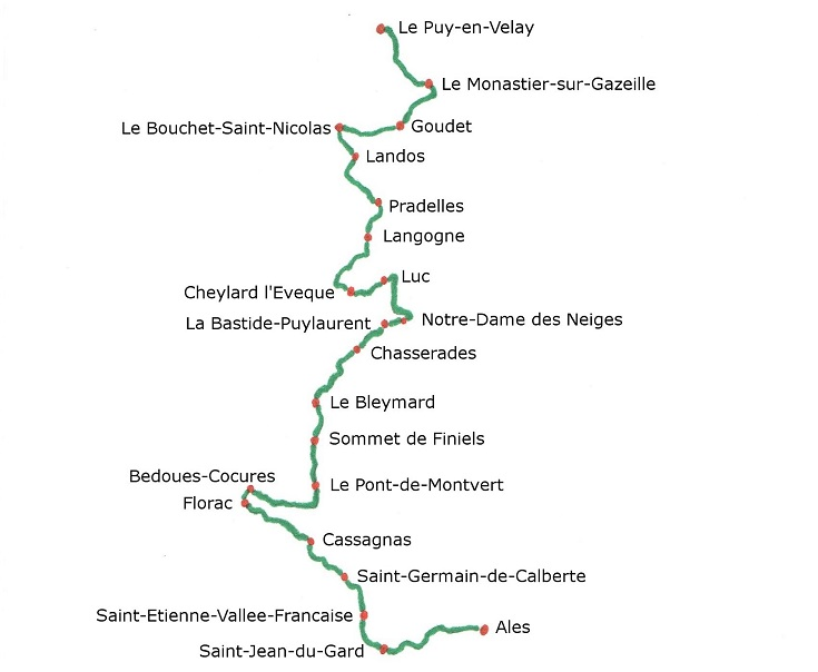 Map showing all towns along the GR70 Chemin de Stevenson