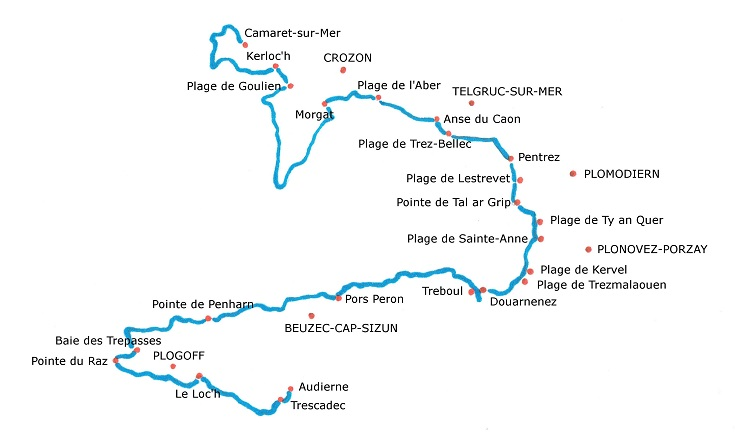 Map of the GR 34 path along the coast of Brittany
