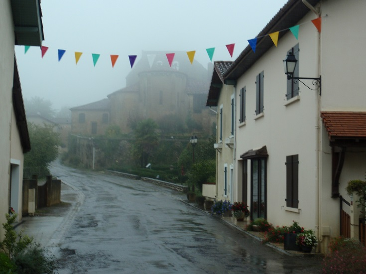 Pimbo on a wet, miserable morning, Chemin de Saint-Jacques, France