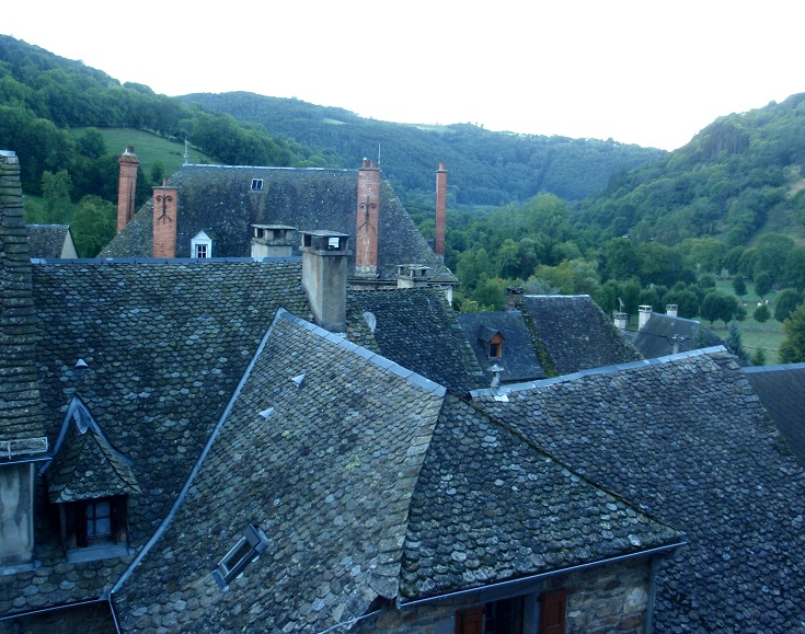Rooftops and turrets of Saint-Chély-d'Aubrac set below the forested hills