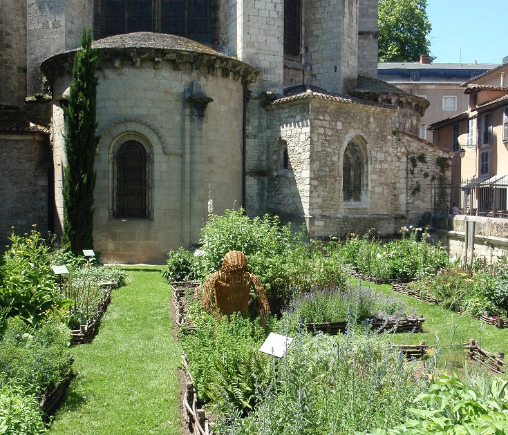 Exterior of an early Roman chapel in Cathedrale Saint-Etienne behind the gardens which provide a supply of flowers for the altar