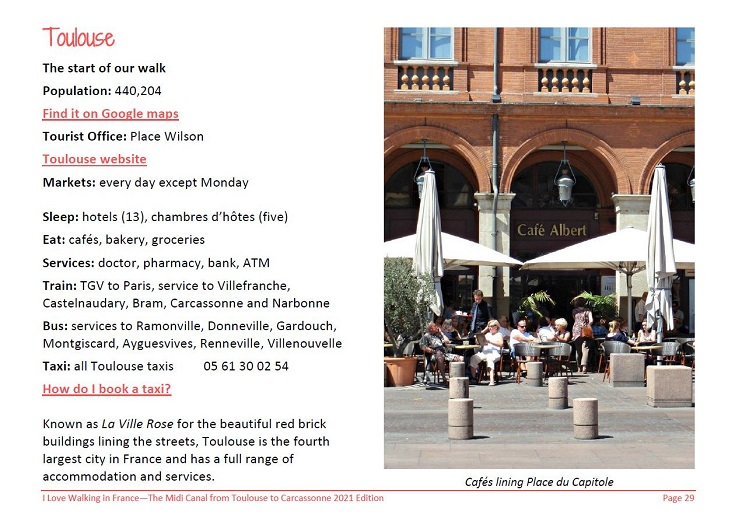 Extract from the Midi Canal guidebook showing details about Toulouse