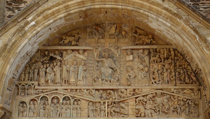 Tympanum above Abbaye de Sainte-Foy, Conques, GR65, France