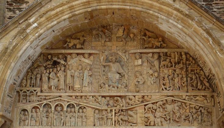 Tympanum above Abbaye de Sainte-Foy, Conques, GR65, France