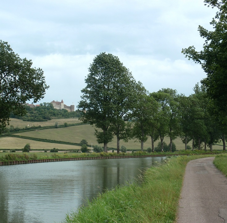 View from the canal, Châteauneuf-en-Auxois, Burgundy Canal, France