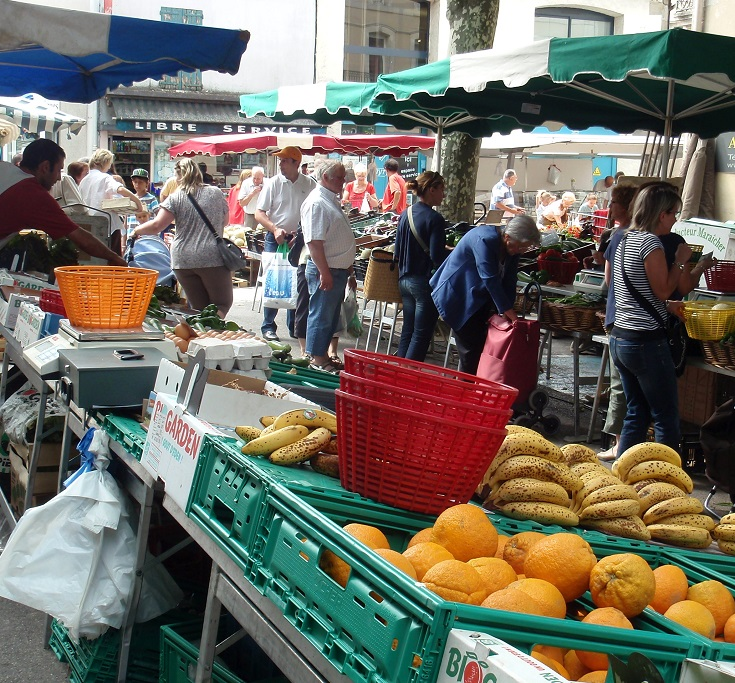 Wednesday morning market, Bram, Midi Canal, France